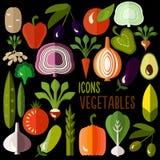 Grönsaksymboler: vektoruppsättning av plan färgrik mat Royaltyfria Bilder