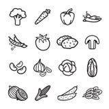 Grönsaksymbolsuppsättning Vektor EPS 10 Fotografering för Bildbyråer