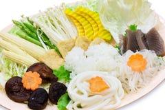 Grönsakuppsättning för sukuyaki Royaltyfri Foto
