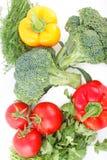 Grönsakuppsättningen för ett sunt bantar Arkivfoto