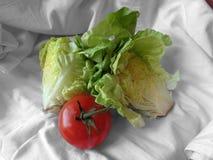 Grönsallat och tomat på en torkdukehandduk Royaltyfri Fotografi