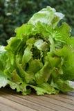 Grönsallat på trätabellen Arkivbild