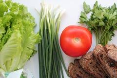 Grönsallat, salladslökar, persilja, tomat och hemlagat rågbröd banta sunt banta royaltyfria foton