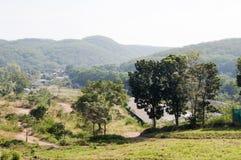 Grönska gräs bergträdlandskap Royaltyfria Bilder