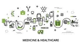 Grönskabegrepp av medicin och sjukvården stock illustrationer