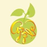 Grönt äpple med inskriften APPLE Royaltyfri Foto