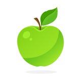 Grönt äpple med stammen och bladet Arkivbild