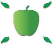 Grönt äpple och blad fyra Royaltyfri Foto