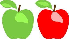 Grönt äpple och rött äpple Arkivfoto