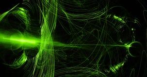 Grönt abstrakt begrepp fodrar kurvpartikelbakgrund Arkivfoton