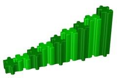 Grönt affärsdiagram framförande 3d vektor illustrationer