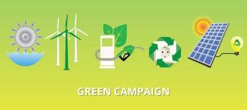 Grönt aktionbegrepp med den nya energialternativsolpanelen royaltyfri illustrationer