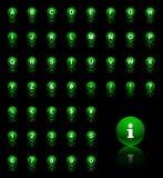 Grönt alfabet Arkivbilder