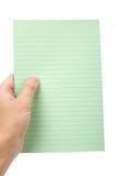 grönt anmärkningspapper royaltyfri bild