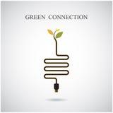 Grönt anslutningsbegrepp Grönt miljötecken Arkivfoton