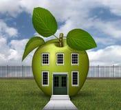 Grönt Apple hus 3D Fotografering för Bildbyråer