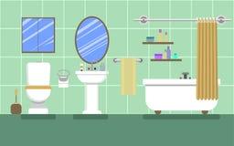 Grönt badrum med möblemang Arkivbilder