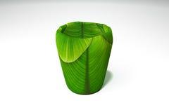 Grönt bananblad för exponeringsglas Royaltyfri Fotografi