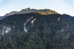 Grönt berg med liten snö på det bästa solljuset i morgonen på Lachen i norr Sikkim, Indien Arkivbilder