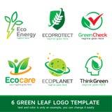 Grönt blad Logo Template Design Vector Stock Illustrationer