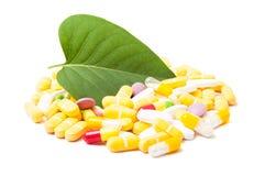 Grönt blad och grupp av preventivpillerar Royaltyfri Bild