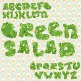 Grönt bladsalladabc med sömlös bakgrund för ägg, isolerade bokstäver stock illustrationer