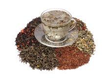 Grönt blandade te och teer - Arkivbilder