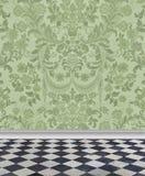 Grönt damast vägg- och marmorgolv royaltyfri illustrationer