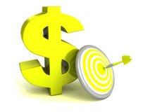 grönt dollarsymbol med den pilmålet och pilen Royaltyfri Bild