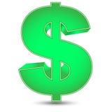 Grönt dollartecken Arkivbild