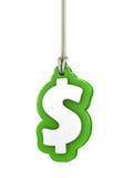 Grönt dollarvalutasymbol som isoleras på vit bakgrundshangin Arkivfoton