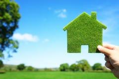 Grönt ekologiskt hus i tomt fält royaltyfri foto