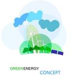Grönt energibegrepp, ecologycal framtid av jord field turbines wind yellow Fotografering för Bildbyråer