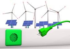 Grönt energikontaktdon stock illustrationer