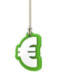 Grönt eurovalutasymbol som isoleras på vitt hänga för bakgrund Fotografering för Bildbyråer