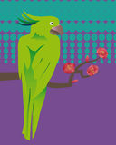 Grönt exotiskt papegojasammanträde på en filial Arkivbild