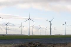 Grönt fält för vindenergi Fotografering för Bildbyråer