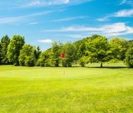 Grönt fält och härlig blå himmel Rött klumpa ihop sig på utslagsplatsen, grund DOF fotografering för bildbyråer