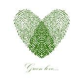 Grönt fingeravtryck med hjärta på en vit bakgrund vektor Fotografering för Bildbyråer
