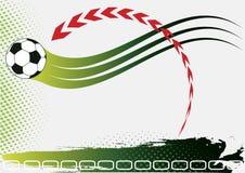 Grönt fotbollbaner med den röda pilen Arkivbild