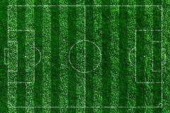 Grönt fotbollfält, soccorfält från bästa sikt Fotografering för Bildbyråer