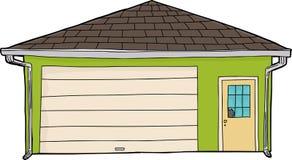 Grönt garage med det brutna fönstret Arkivfoto