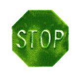grönt gjort teckenstopp för gräs Arkivbilder