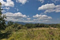 Grönt gräs för sommarberg och blå himmel med moln Royaltyfri Fotografi