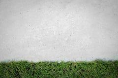 Grönt gräs med det gamla konkreta golvet Arkivfoto