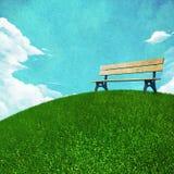 Grönt gräs och bänk Fotografering för Bildbyråer