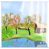 Grönt höstlandskap Den frihandsdrog tecknade filmen utformar utomhus Lantgårdhus, bygdplats Sjösikt bland kullar vektor illustrationer
