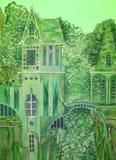 Grönt hus royaltyfri illustrationer