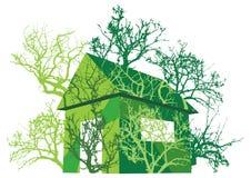 grönt hus för eco Arkivfoton