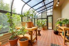 Grönt hus för privat hem, solrum Arkivbilder